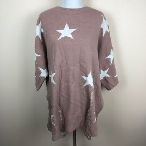 Easel mauve pink and white distressed star sweater